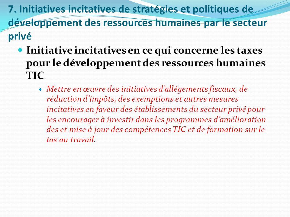 7. Initiatives incitatives de stratégies et politiques de développement des ressources humaines par le secteur privé Initiative incitatives en ce qui