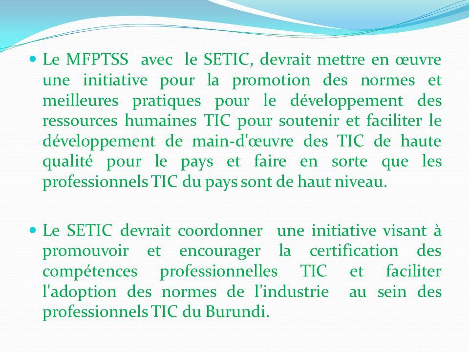 Le MFPTSS avec le SETIC, devrait mettre en œuvre une initiative pour la promotion des normes et meilleures pratiques pour le développement des ressour