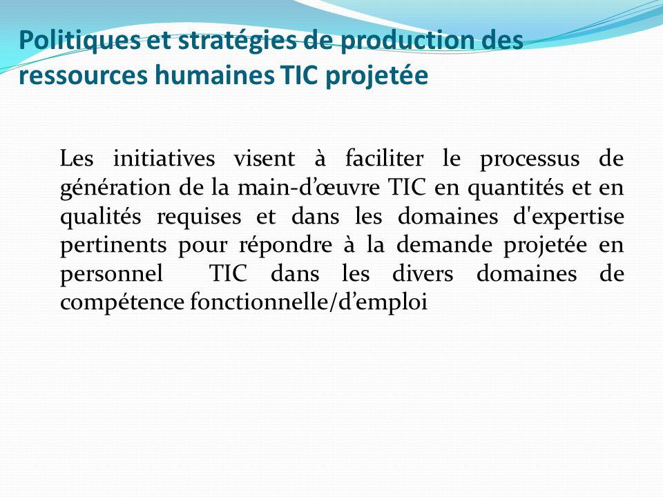 Politiques et stratégies de production des ressources humaines TIC projetée Les initiatives visent à faciliter le processus de génération de la main-d