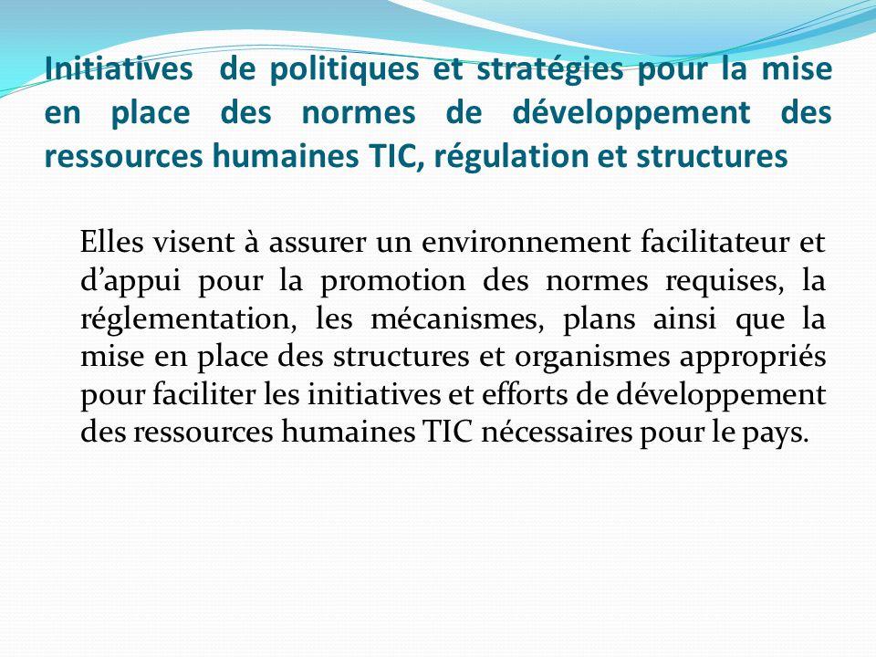 Initiatives de politiques et stratégies pour la mise en place des normes de développement des ressources humaines TIC, régulation et structures Elles