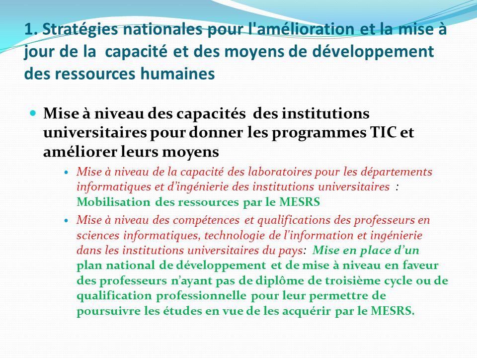 1. Stratégies nationales pour l'amélioration et la mise à jour de la capacité et des moyens de développement des ressources humaines Mise à niveau des