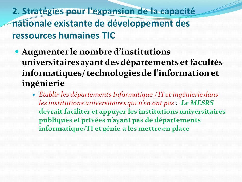 2. Stratégies pour l'expansion de la capacité nationale existante de développement des ressources humaines TIC Augmenter le nombre dinstitutions unive