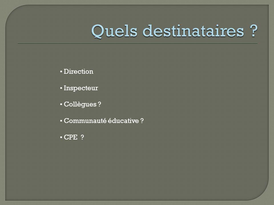 Direction Inspecteur Collègues ? Communauté éducative ? CPE ?