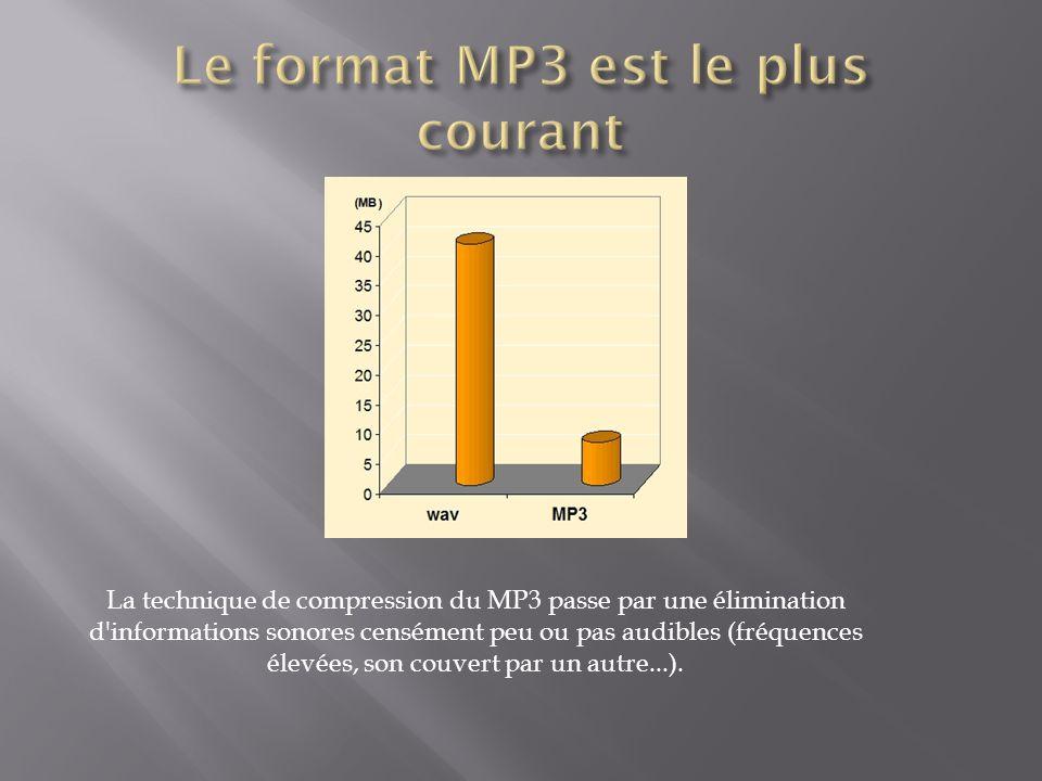 La technique de compression du MP3 passe par une élimination d'informations sonores censément peu ou pas audibles (fréquences élevées, son couvert par