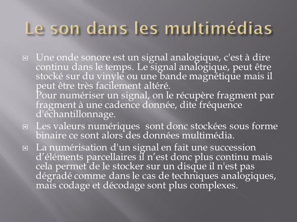 Une onde sonore est un signal analogique, c'est à dire continu dans le temps. Le signal analogique, peut être stocké sur du vinyle ou une bande magnét