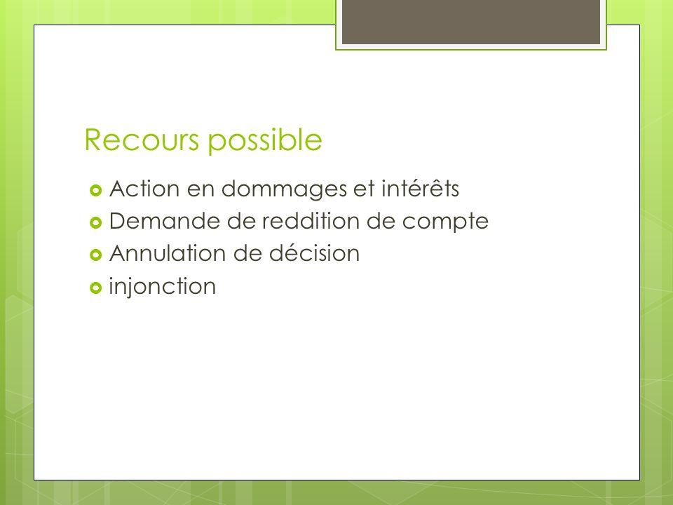 Recours possible Action en dommages et intérêts Demande de reddition de compte Annulation de décision injonction