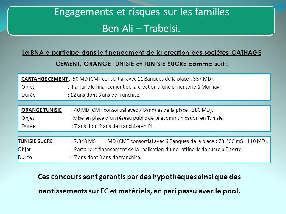 Engagements et risques sur les familles Ben Ali – Trabelsi. La BNA a participé dans le financement de la création des sociétés CATHAGE CEMENT, ORANGE