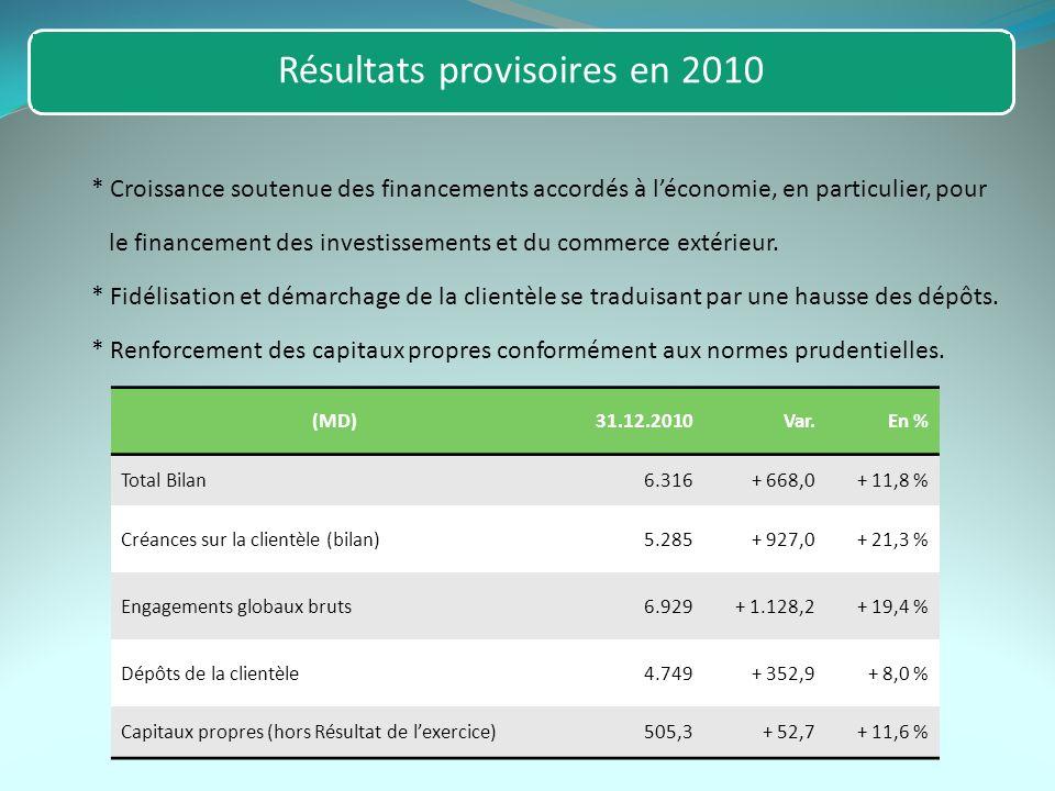 Résultats provisoires en 2010 * Croissance soutenue des financements accordés à léconomie, en particulier, pour le financement des investissements et du commerce extérieur.