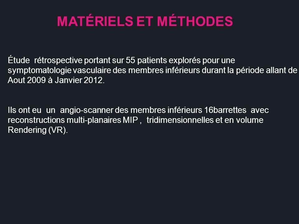 MATÉRIELS ET MÉTHODES Étude rétrospective portant sur 55 patients explorés pour une symptomatologie vasculaire des membres inférieurs durant la périod