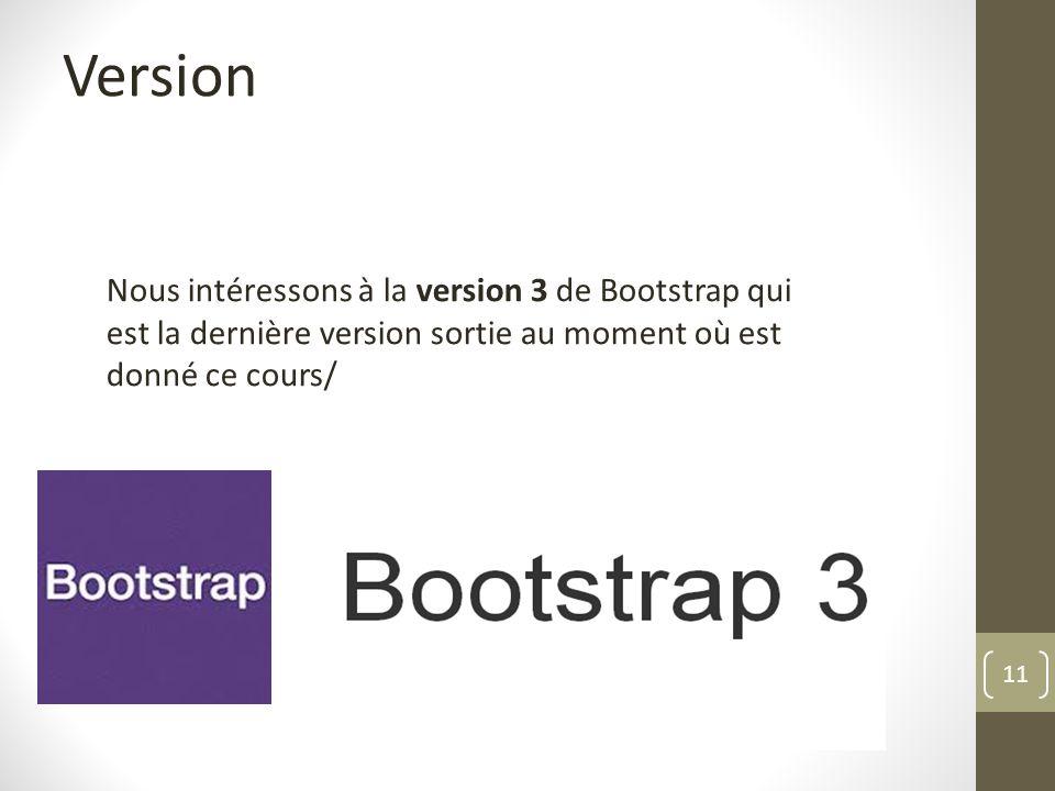 11 Version Nous intéressons à la version 3 de Bootstrap qui est la dernière version sortie au moment où est donné ce cours/