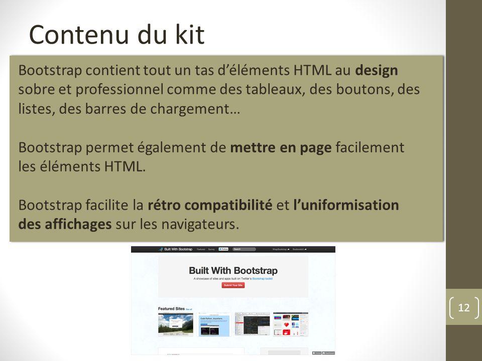 12 Contenu du kit Bootstrap contient tout un tas déléments HTML au design sobre et professionnel comme des tableaux, des boutons, des listes, des barr