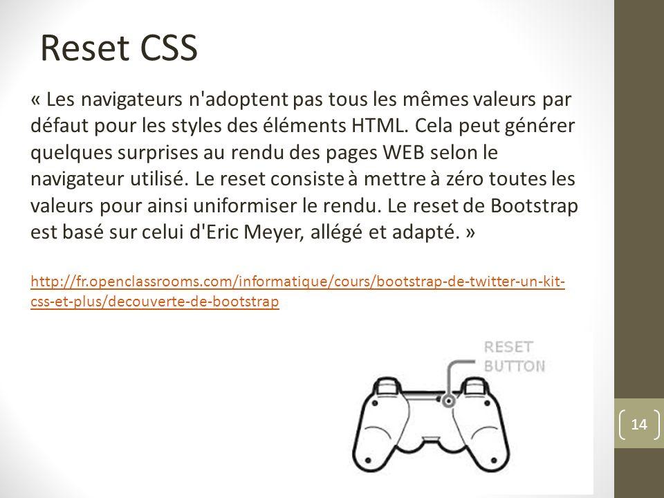 14 Reset CSS « Les navigateurs n'adoptent pas tous les mêmes valeurs par défaut pour les styles des éléments HTML. Cela peut générer quelques surprise