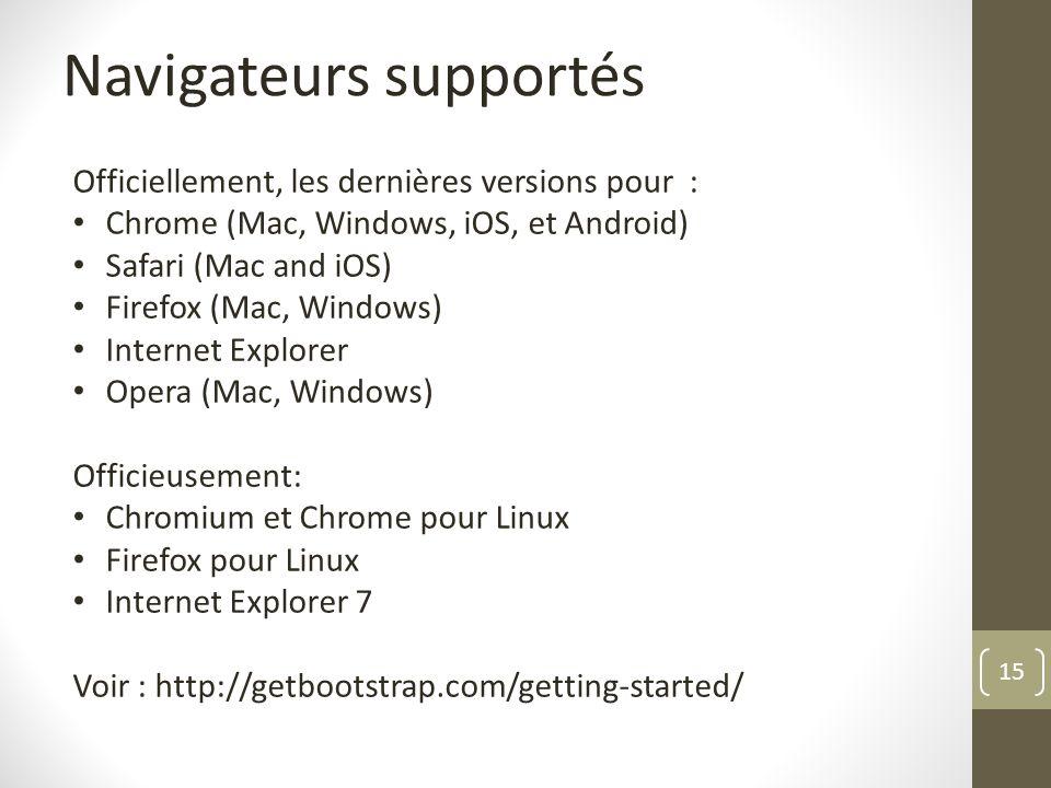 15 Navigateurs supportés Officiellement, les dernières versions pour : Chrome (Mac, Windows, iOS, et Android) Safari (Mac and iOS) Firefox (Mac, Windo