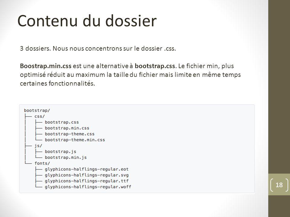 18 Contenu du dossier 3 dossiers. Nous nous concentrons sur le dossier.css. Boostrap.min.css est une alternative à bootstrap.css. Le fichier min, plus