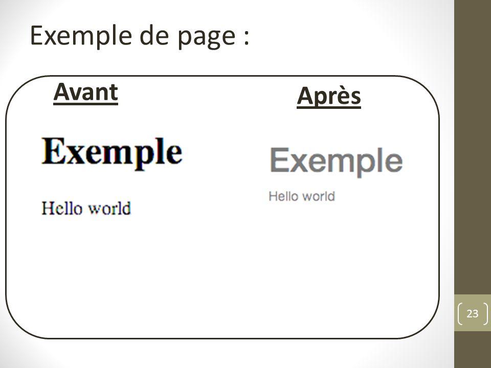 23 Exemple de page : Avant Après