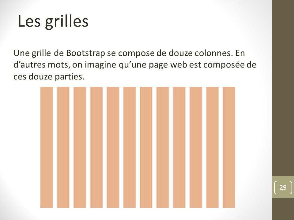 29 Les grilles Une grille de Bootstrap se compose de douze colonnes. En dautres mots, on imagine quune page web est composée de ces douze parties.