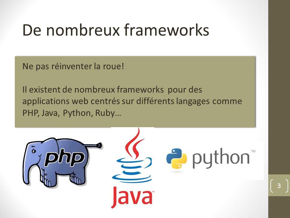 3 De nombreux frameworks Ne pas réinventer la roue! Il existent de nombreux frameworks pour des applications web centrés sur différents langages comme