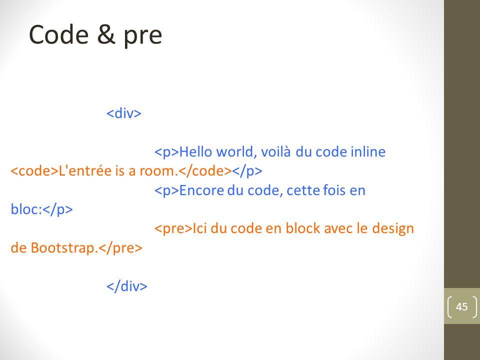 45 Code & pre Hello world, voilà du code inline L'entrée is a room. Encore du code, cette fois en bloc: Ici du code en block avec le design de Bootstr