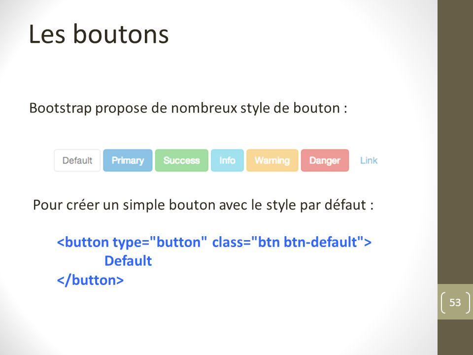 53 Les boutons Bootstrap propose de nombreux style de bouton : Pour créer un simple bouton avec le style par défaut : Default