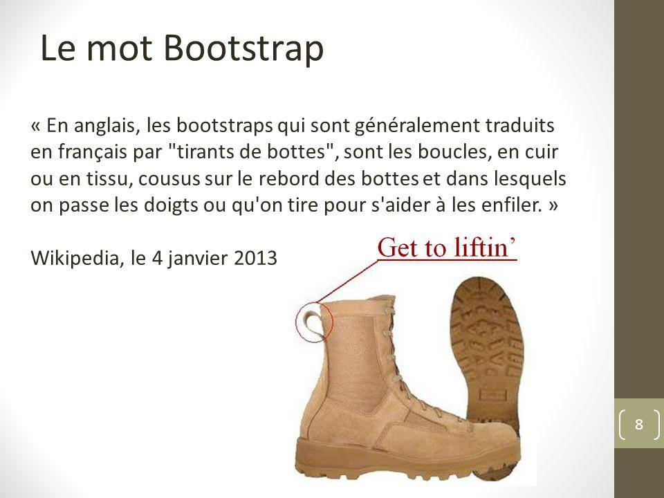 9 Le mot Bootstrap On peut imaginer imaginer un usage métaphorique du terme et penser que lintégration et lhabillage CSS/JS est compris par Twitter comme le moyen de faire passer plus facilement linformation, denfiler la chaussure.