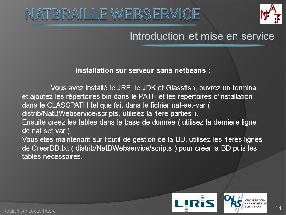 Introduction et mise en service 14 Réalisé par Lucas Traore Installation sur serveur sans netbeans : Vous avez installé le JRE, le JDK et Glassfish, o