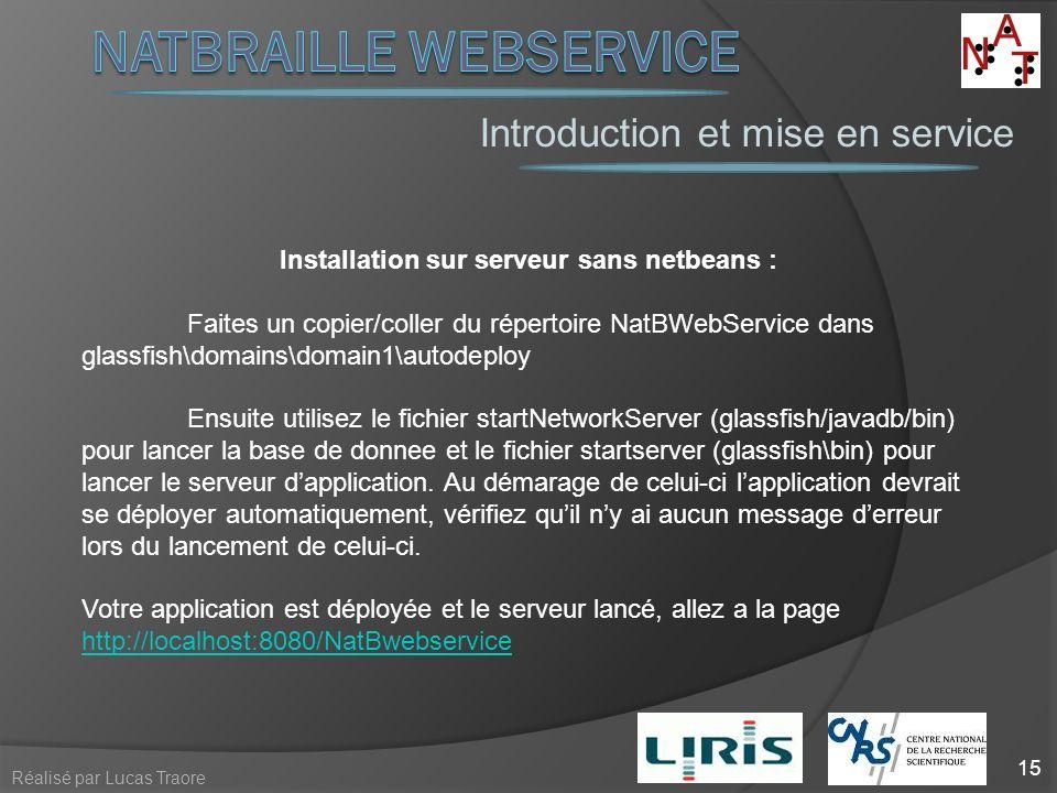 Introduction et mise en service 15 Réalisé par Lucas Traore Installation sur serveur sans netbeans : Faites un copier/coller du répertoire NatBWebServ