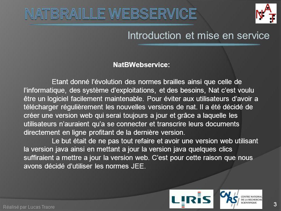 Introduction et mise en service 3 Réalisé par Lucas Traore NatBWebservice: Etant donné lévolution des normes brailles ainsi que celle de linformatique