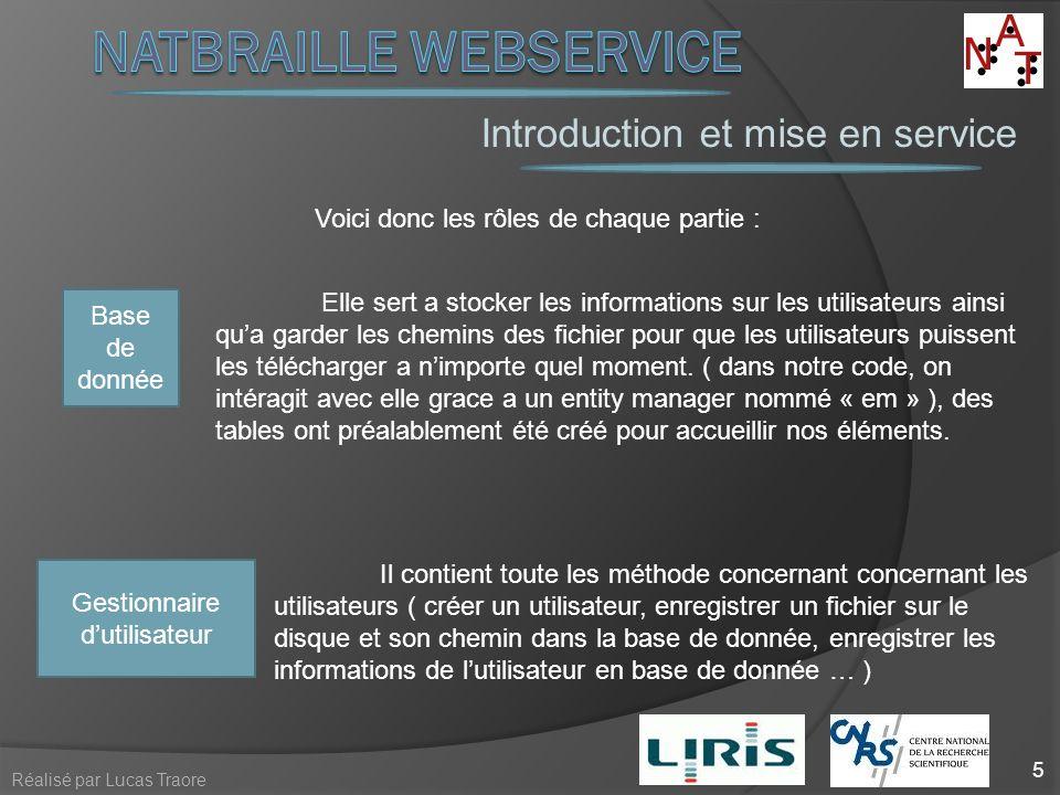 Introduction et mise en service 5 Réalisé par Lucas Traore Voici donc les rôles de chaque partie : Base de donnée Elle sert a stocker les informations