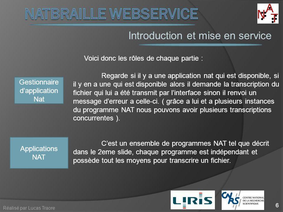 Introduction et mise en service 6 Réalisé par Lucas Traore Voici donc les rôles de chaque partie : Applications NAT Cest un ensemble de programmes NAT