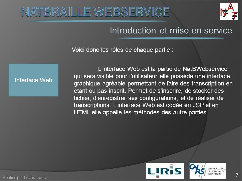 Introduction et mise en service 7 Réalisé par Lucas Traore Voici donc les rôles de chaque partie : Interface Web Linterface Web est la partie de NatBW