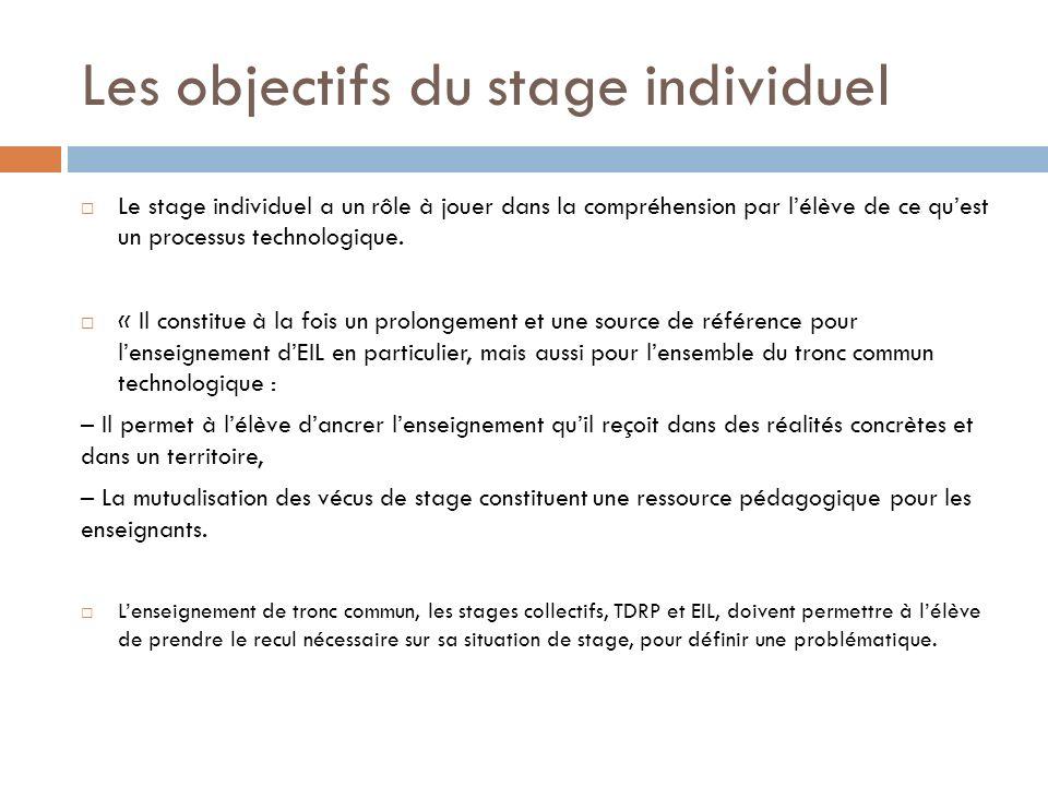 Les objectifs du stage individuel Le stage individuel a un rôle à jouer dans la compréhension par lélève de ce quest un processus technologique. « Il