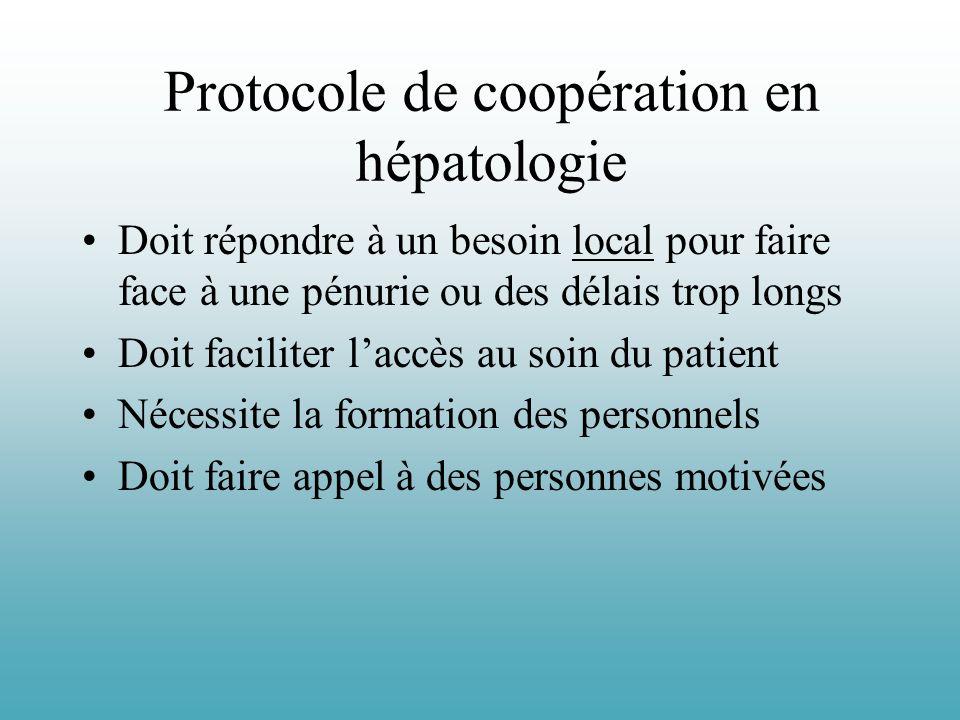 Protocole de coopération en hépatologie Doit répondre à un besoin local pour faire face à une pénurie ou des délais trop longs Doit faciliter laccès a