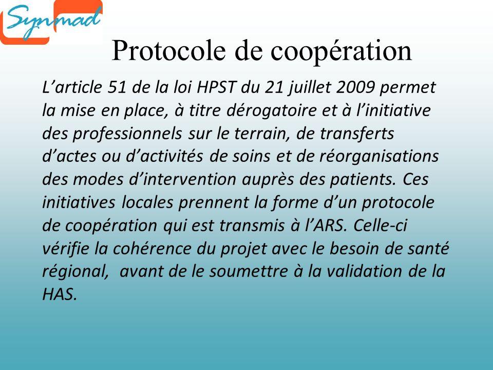 Protocole de coopération Larticle 51 de la loi HPST du 21 juillet 2009 permet la mise en place, à titre dérogatoire et à linitiative des professionnels sur le terrain, de transferts dactes ou dactivités de soins et de réorganisations des modes dintervention auprès des patients.