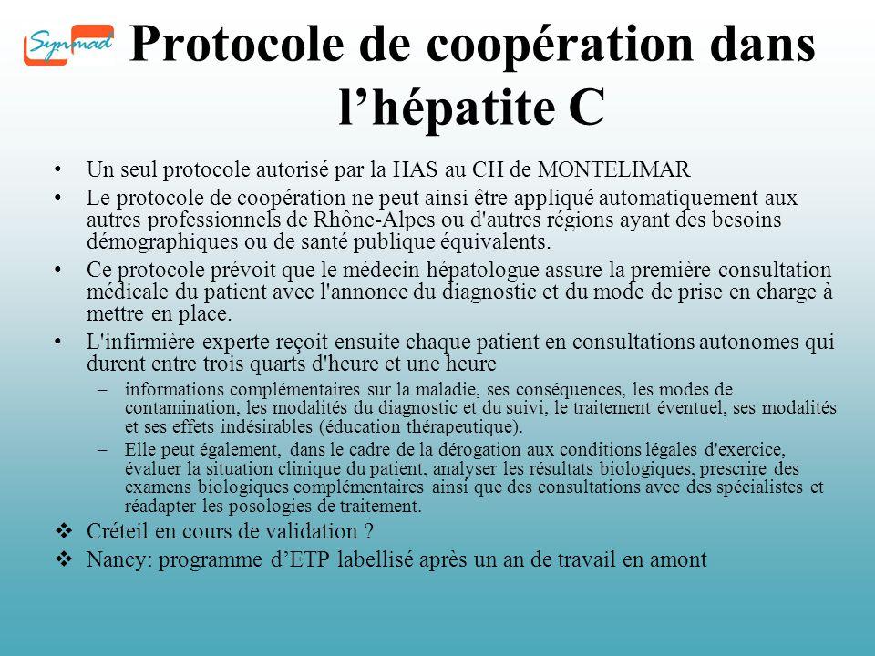 Protocole de coopération dans lhépatite C Un seul protocole autorisé par la HAS au CH de MONTELIMAR Le protocole de coopération ne peut ainsi être appliqué automatiquement aux autres professionnels de Rhône-Alpes ou d autres régions ayant des besoins démographiques ou de santé publique équivalents.