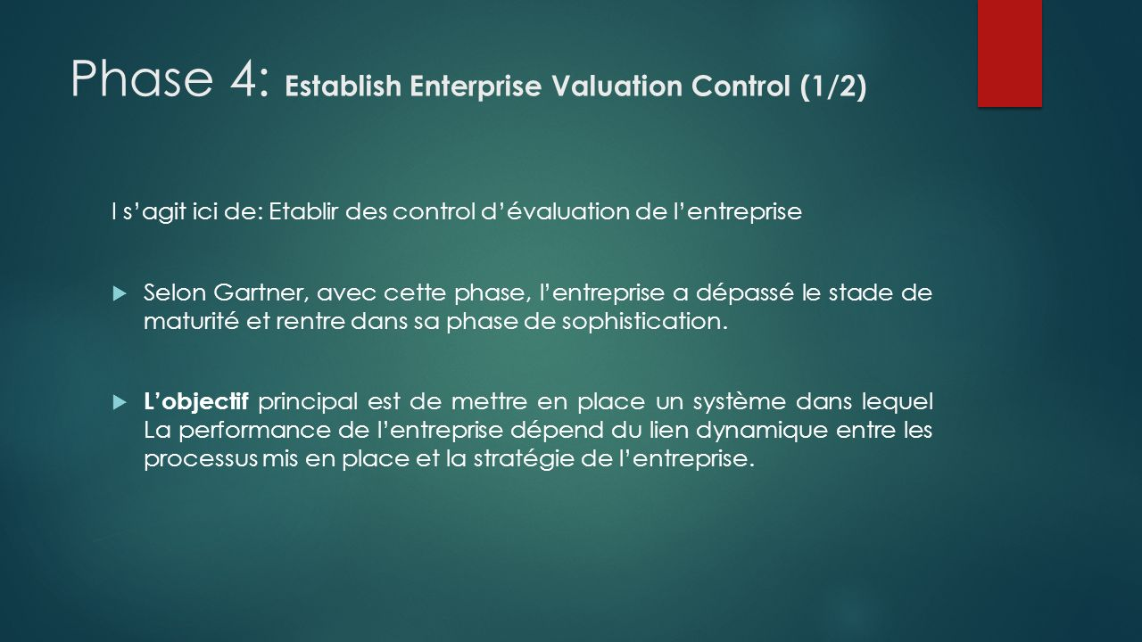 Phase 4: Establish Enterprise Valuation Control (2/2) Cette phase est déclenchée, lorsque la direction de lentreprise dispose dune vision globale et du contrôle de la chaine de valeur qui séchange entre client et les employés.