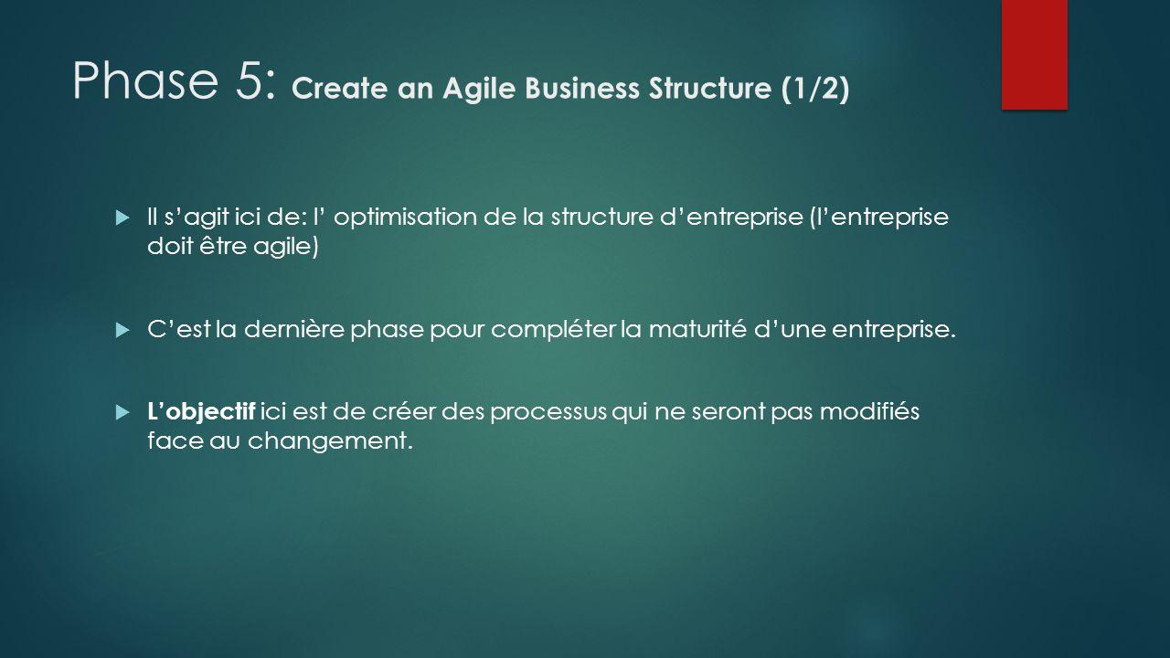 Phase 5: Create an Agile Business Structure (1/2) Il sagit ici de: l optimisation de la structure dentreprise (lentreprise doit être agile) Cest la de