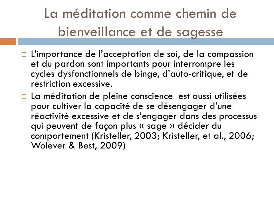 La méditation comme chemin de bienveillance et de sagesse Limportance de lacceptation de soi, de la compassion et du pardon sont importants pour inter