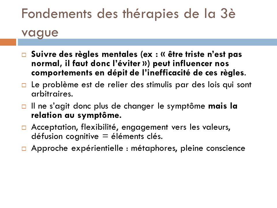 Fondements des thérapies de la 3è vague Suivre des règles mentales (ex : « être triste nest pas normal, il faut donc léviter ») peut influencer nos co