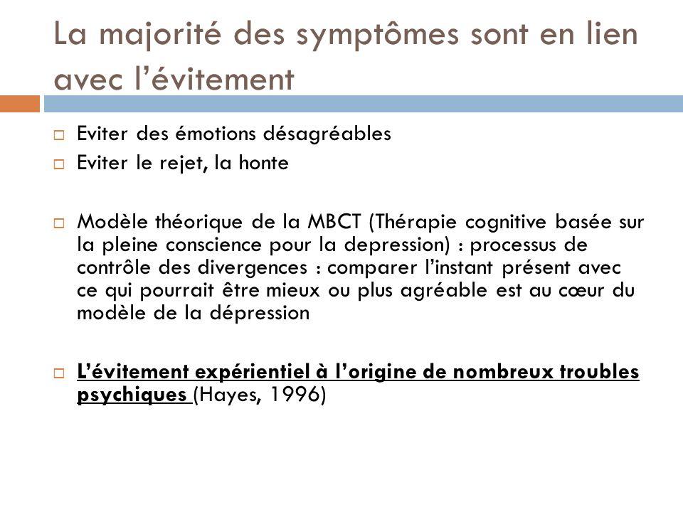 La majorité des symptômes sont en lien avec lévitement Eviter des émotions désagréables Eviter le rejet, la honte Modèle théorique de la MBCT (Thérapi