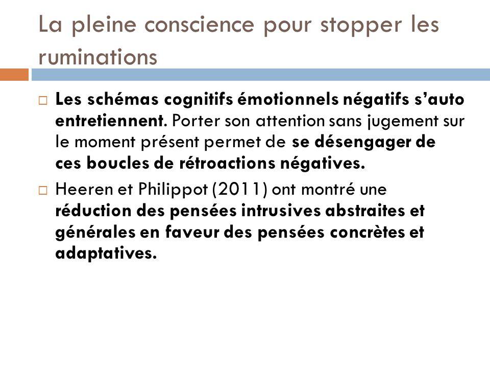 La pleine conscience pour stopper les ruminations Les schémas cognitifs émotionnels négatifs sauto entretiennent. Porter son attention sans jugement s