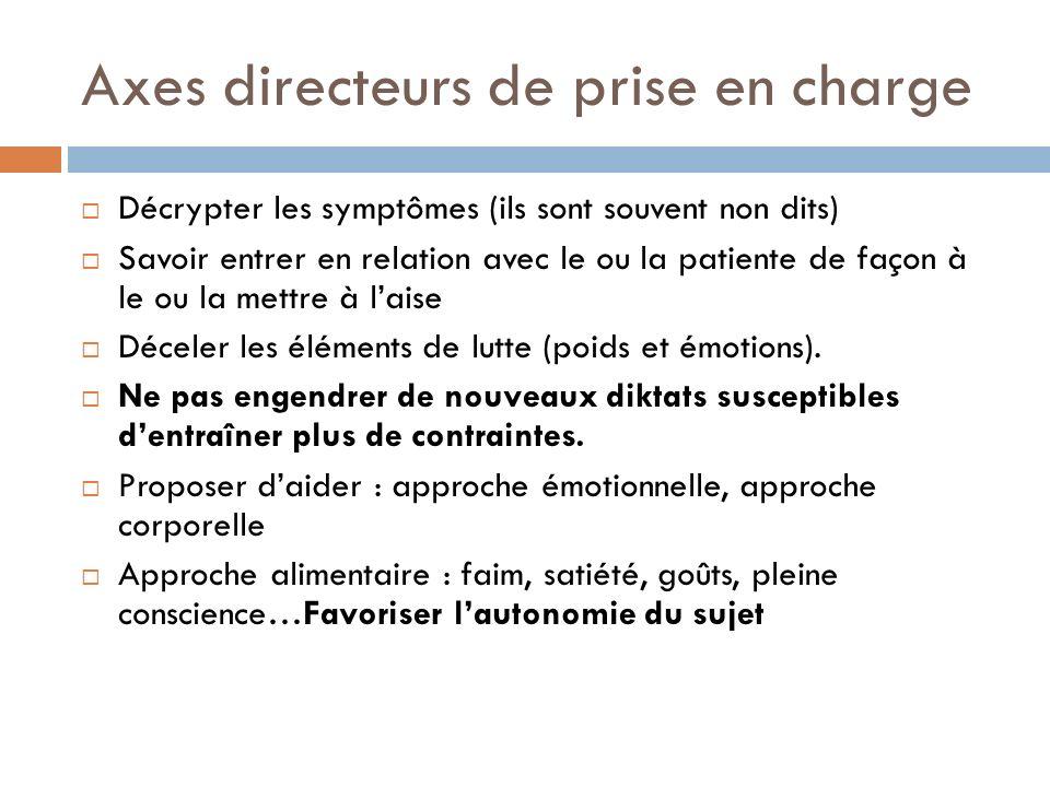 Axes directeurs de prise en charge Décrypter les symptômes (ils sont souvent non dits) Savoir entrer en relation avec le ou la patiente de façon à le