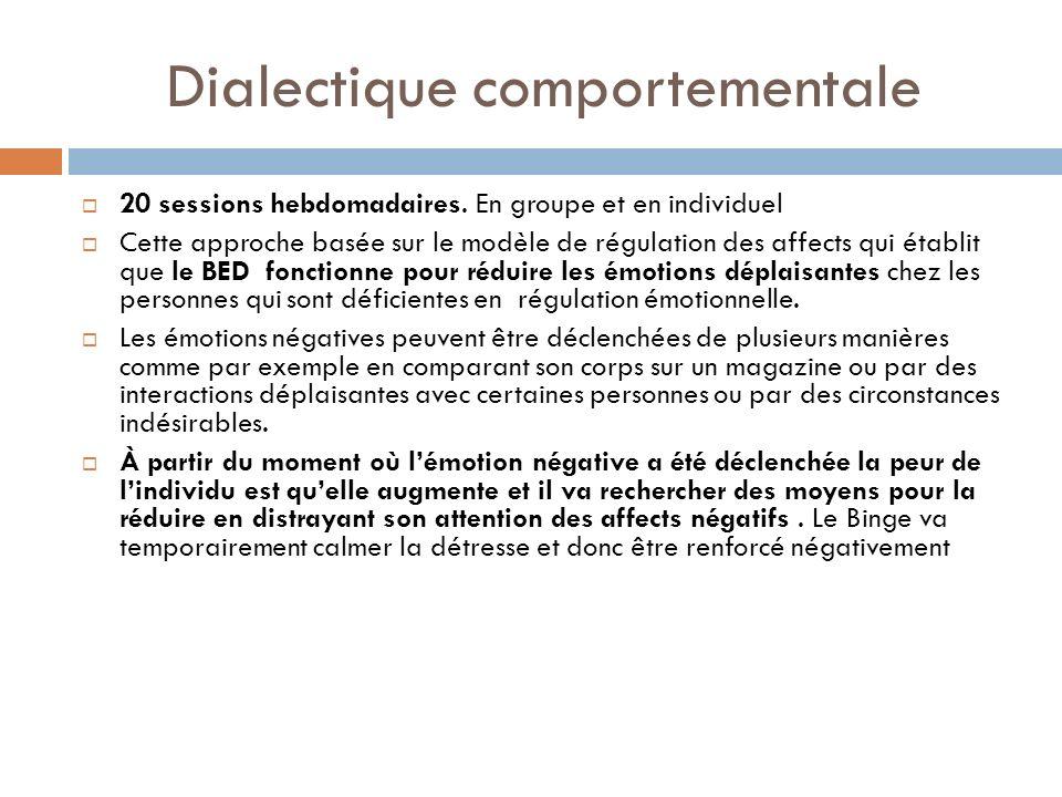 Dialectique comportementale 20 sessions hebdomadaires. En groupe et en individuel Cette approche basée sur le modèle de régulation des affects qui éta