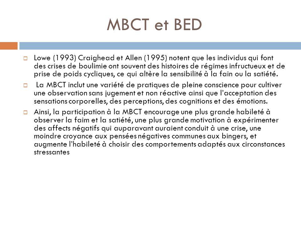 MBCT et BED Lowe (1993) Craighead et Allen (1995) notent que les individus qui font des crises de boulimie ont souvent des histoires de régimes infruc