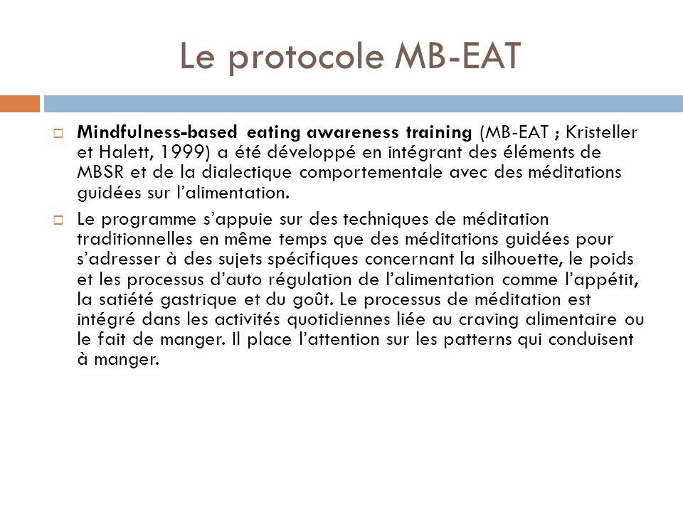 Le protocole MB-EAT Mindfulness-based eating awareness training (MB-EAT ; Kristeller et Halett, 1999) a été développé en intégrant des éléments de MBS