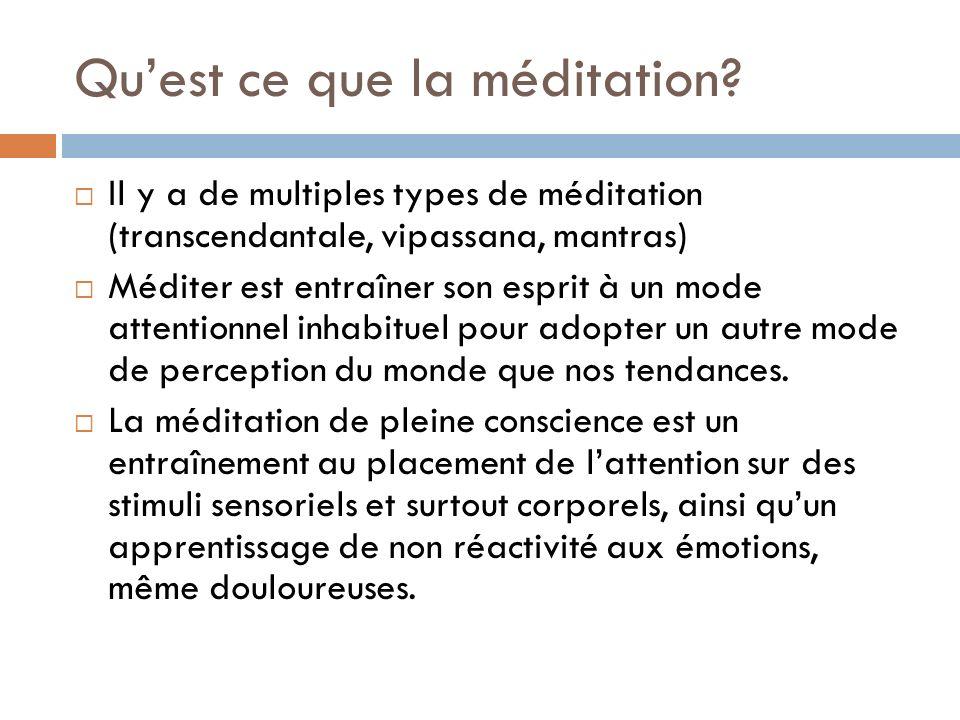 Quest ce que la méditation? Il y a de multiples types de méditation (transcendantale, vipassana, mantras) Méditer est entraîner son esprit à un mode a