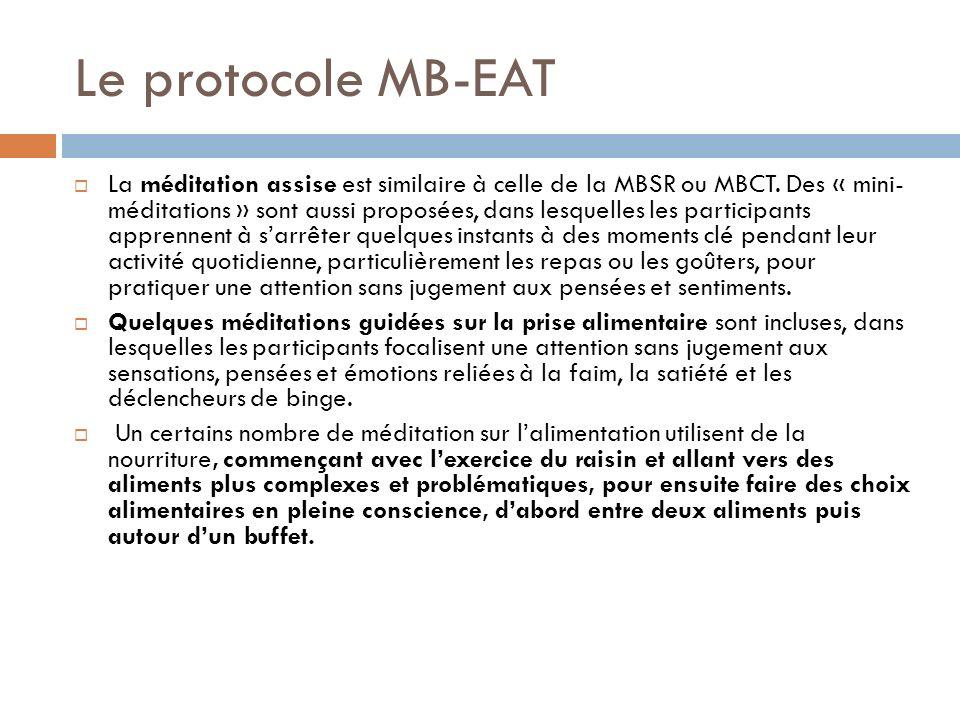 Le protocole MB-EAT La méditation assise est similaire à celle de la MBSR ou MBCT. Des « mini- méditations » sont aussi proposées, dans lesquelles les