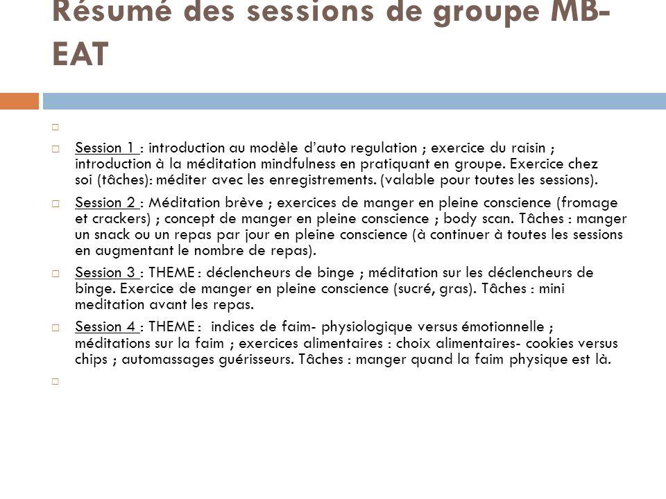 Résumé des sessions de groupe MB- EAT Session 1 : introduction au modèle dauto regulation ; exercice du raisin ; introduction à la méditation mindfuln