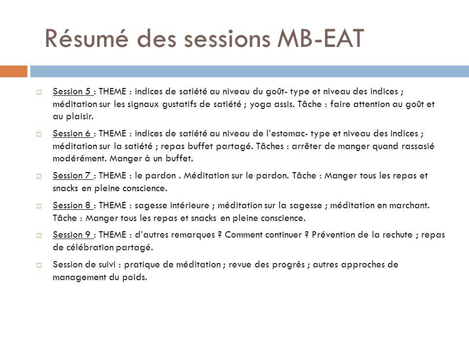 Résumé des sessions MB-EAT Session 5 : THEME : indices de satiété au niveau du goût- type et niveau des indices ; méditation sur les signaux gustatifs