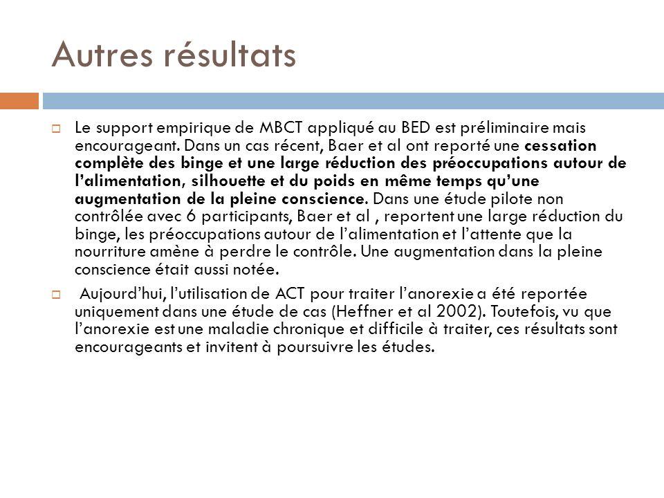 Autres résultats Le support empirique de MBCT appliqué au BED est préliminaire mais encourageant. Dans un cas récent, Baer et al ont reporté une cessa