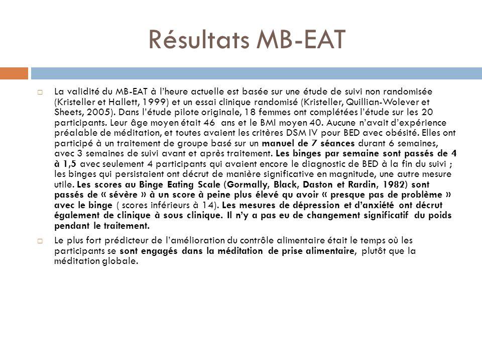 Résultats MB-EAT La validité du MB-EAT à lheure actuelle est basée sur une étude de suivi non randomisée (Kristeller et Hallett, 1999) et un essai cli